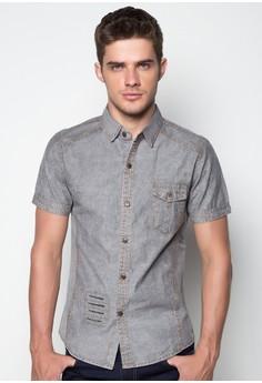 Nick Short Sleeve Acidwash Button Down Shirt