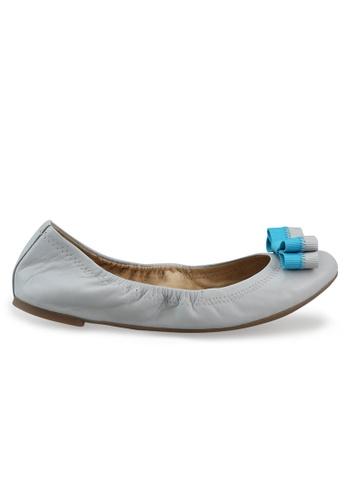 Shu Talk grey Nappa Round Toe Ballet Flats With Bow SH617SH2USCQHK_1