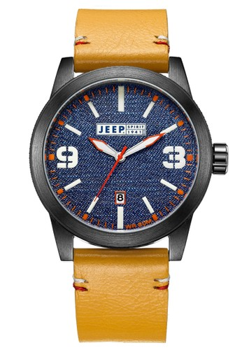 Jeep Spirit Casual Denim Multifunction Watch Jeep JPS70306 Black Blue Jeans Khaki Leather