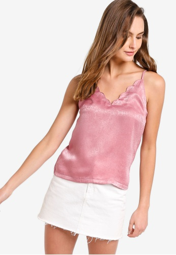 ZALORA BASICS pink Basic Scallop Cami Top 6152DAAE750E21GS_1