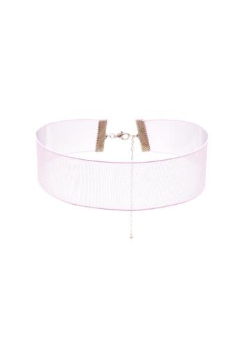LUCCACAL pink Sheer Woven Choker LU294AC05RLUMY_1
