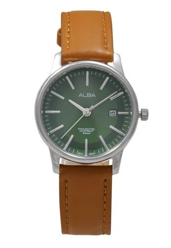 Alba brown ALBA Jam Tangan Wanita - Brown Silver Green - Leather Strap - AH7N11 F4308ACE03A98EGS_1