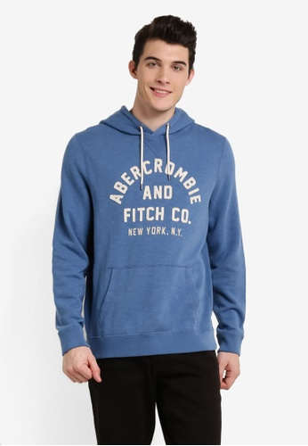 Abercrombie & Fitch blue Logo Crew Hoodie AB423AA0RE1IMY_1
