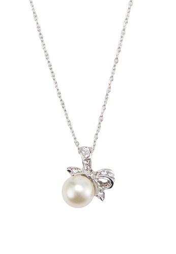 蝴蝶結珍珠吊墜項鍊, 飾品配件, 飾品zalora是哪裡的牌子配件