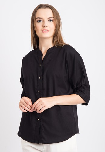 The B Club black Relax Cotton Shirt With Pleated Sleeve 9740AAAB416330GS_1