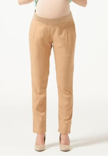 Bove by Spring Maternity beige Woven Pants Emma Regular Straight Camel IB6302 BO010AA0GOPVSG_1