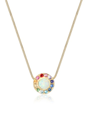 fast delivery new photos exceptional range of styles and colors Elli Germany Necklace Round Circle Rainbow Geo Blogger Swarovski Crystals  Silver Gold Plated