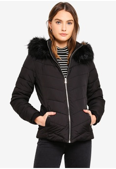 2fc9cb8b251 Miss Selfridge black Black Hooded Puffer Coat 9AE4EAAD19565FGS 1