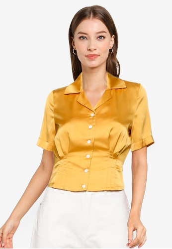 URBAN REVIVO yellow Satin Short Sleeve Shirt F6502AAB814E41GS_1