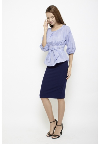 Sophialuv blue Keep it Together Blouse in Blue Stripes 6C4CAAAF6DB4C5GS_1