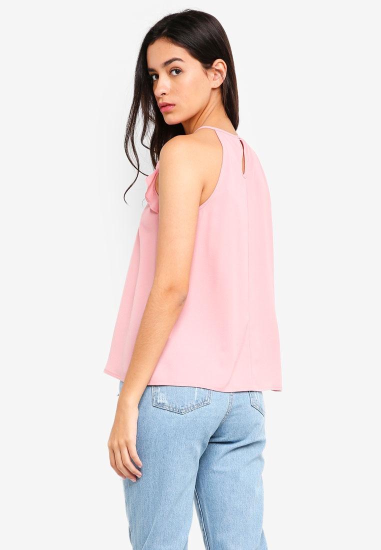 Ruffle Top ZALORA Sleeve Blush BASICS Halterneck px0HwqSv