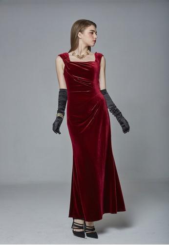 時尚放射摺絲絨吊帶長禮服, 服飾, 晚esprit地址宴禮服