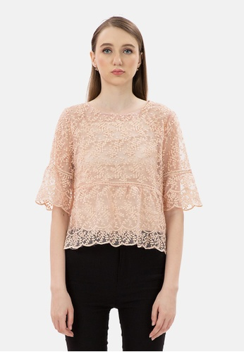 MKY Clothing pink MKY Flower Mesh Blouse with Inner 65163AA276F6F6GS_1