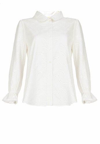 POPLOOK white Carinna Front Button Eyelet Shirt 2ADF7AAADC0258GS_1
