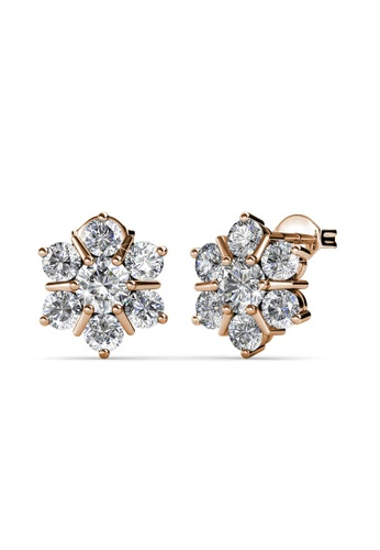 Her Jewellery gold Flowery Earrings (Rose Gold) - Made with premium grade crystals from Austria 0FB8FAC8C9C5A4GS_1