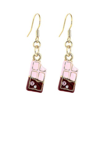 Glamorousky silver Glistering Chocolate Bar Earrings with Pink and Silver CZ 3DE63AC4780C9FGS_1