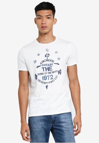OVS 白色 圖案印花T恤 0E785AA112B082GS_1