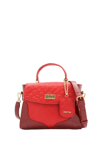 SEMBONIA red Rogue Initial Emboss Synthetic Leather Monogram Petite Satchel Bag (Red) SE598AC0RV2AMY_1