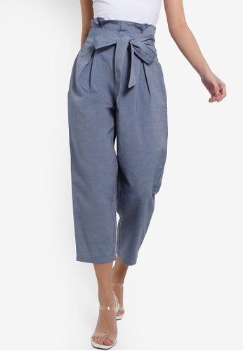ZALORA 海軍藍色 Paperbag Cropped Pants 21D91AAF0479E2GS_1