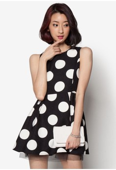 Dotted Dress with Tulle Hem