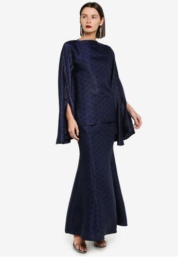 Zalia 藍色 Batwing Sleeve Flowy Kurung E4372AA0BF5BB2GS_1
