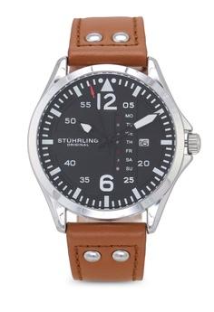 fa59f5be7681 Stuhrling Original black and beige Aviator 3916 Watch EAFE4ACB32FEC7GS 1