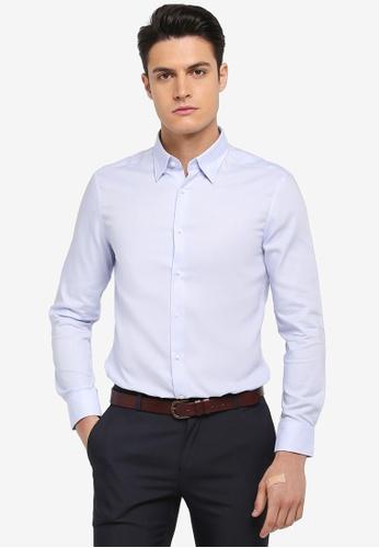 G2000 blue Cotton Twill Long Sleeve Shirt 897A1AAB37757BGS_1