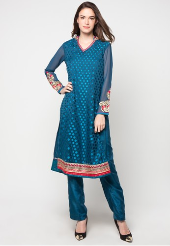 Chanira Festive Collection blue Rexana Long Tunic Set CH354AA29BJUID_1