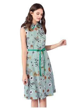OUWEY歐薇 夏日花卉條紋背心洋裝
