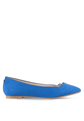Velvet blue Scalloped Edge Ballerina Flats 0FF11SH9770DB9GS_1