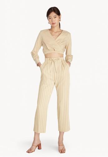 Pomelo multi High Waist Tied Stripe Pants - Cream 0C512AA3547217GS_1