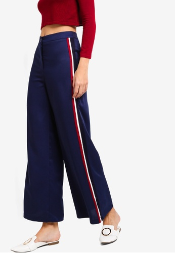 ZALORA navy Bell Bottom Trousers with Trimmings AC8B0AAB940DFFGS_1