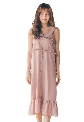 Yoco pink Sleeveless Ruffle Dress 856CAAA4A837FBGS_1