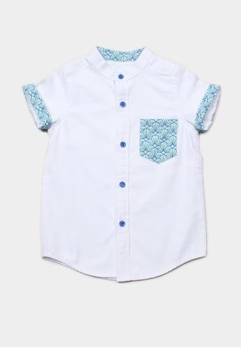 Mini Moley white Seashell Print Pocket Mandarin Collar Short Sleeve Shirt 4521DKA1AA0CFAGS_1