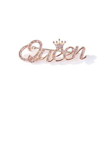 Glamorousky white Simple Temperament Plated Gold Queen Alphabet Brooch with Cubic Zirconia 36C54AC29D3CB1GS_1