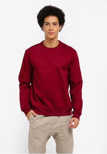 ZALORA red Oversized Stretch Cotton Woven Sweatshirt 1DD7CAA41B5649GS_1