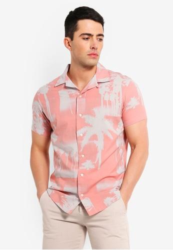 Jack & Jones 粉紅色 印花襯衫 EB0C9AA4CCB720GS_1
