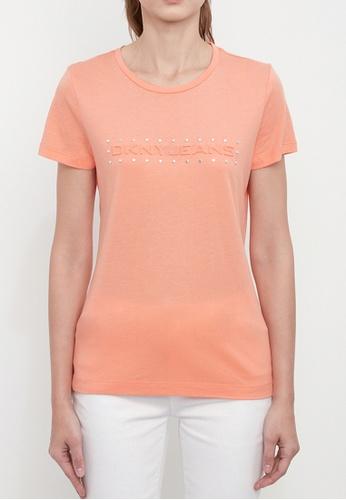 Dkny orange DKNY Women Jeans Logo T-Shirt With Studs 3063FAA12E8191GS_1