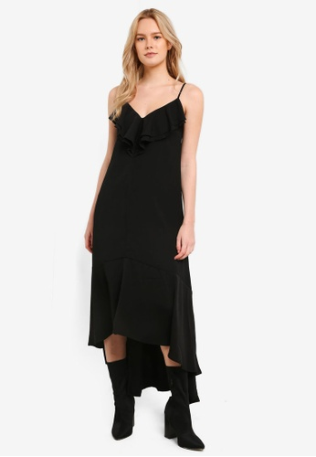 Something Borrowed black Ruffle Dipped Hem Maxi Dress 40C69AADC111A9GS_1