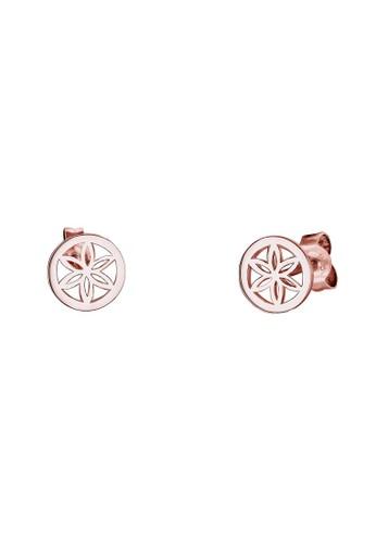 時髦掐絲花鍍玫瑰金 925esprit分店地址 銀 玫瑰金耳環, 飾品配件, 耳釘