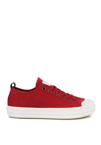 J.DAUL 紅色 經典厚底真皮帆布休閒鞋 JD556SH09Q54TW_1