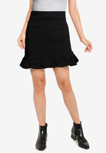 Miss Selfridge black Black Frill Mini Skirt F57D9AA5BE758AGS_1