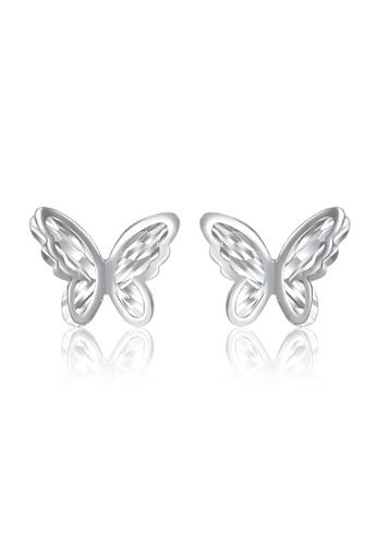 MaBelle silver 14K White Gold Butterfly Earrings MA584AC22IGRHK_1