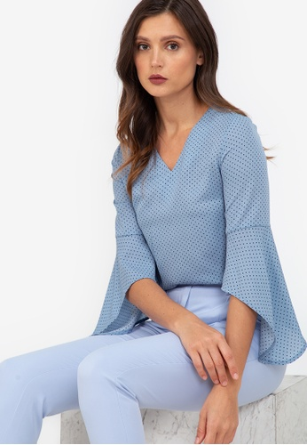 ZALORA WORK multi V Neck Fluted Sleeves Top B828DAABED842CGS_1