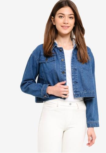 Something Borrowed blue Cropped Hooded Denim Jacket AC74CAA2FF62F6GS_1