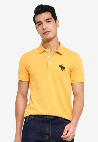ABERCROMBIE & FITCH gold Exploded Icon Polo Shirt E600AAA1EC5565GS_1