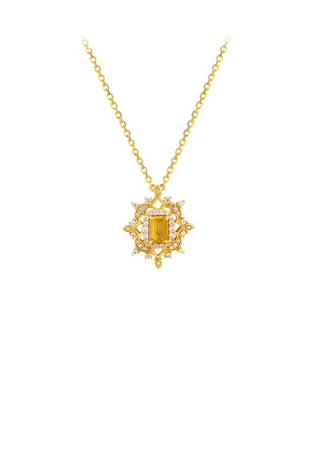 Glamorousky white 925 Sterling Silver Plated Gold Elegant Vintage Palace Style Diamond Pendant with Cubic Zirconia and Necklace 3FC0AAC3BAD297GS_1
