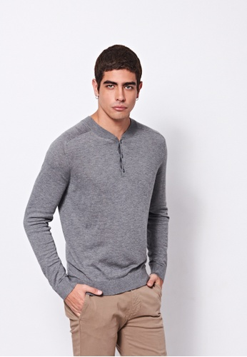 United Colors of Benetton grey V-neck Knitted Sweater A8708AA26E48F8GS_1