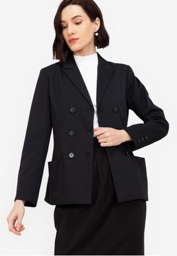 ZALORA WORK black Double Breasted Bar Jacket 0F02BAA74D0075GS_1