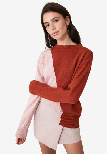 Trendyol brown and pink Colorblock Knitted Sweater B4A65AAD75CDA7GS_1
